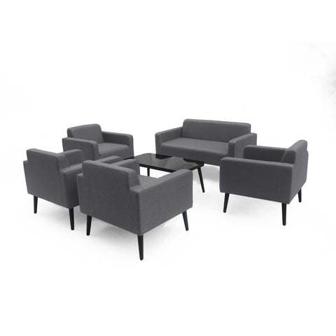 Alton Outdoor Upholstered 6 Piece Chat Set