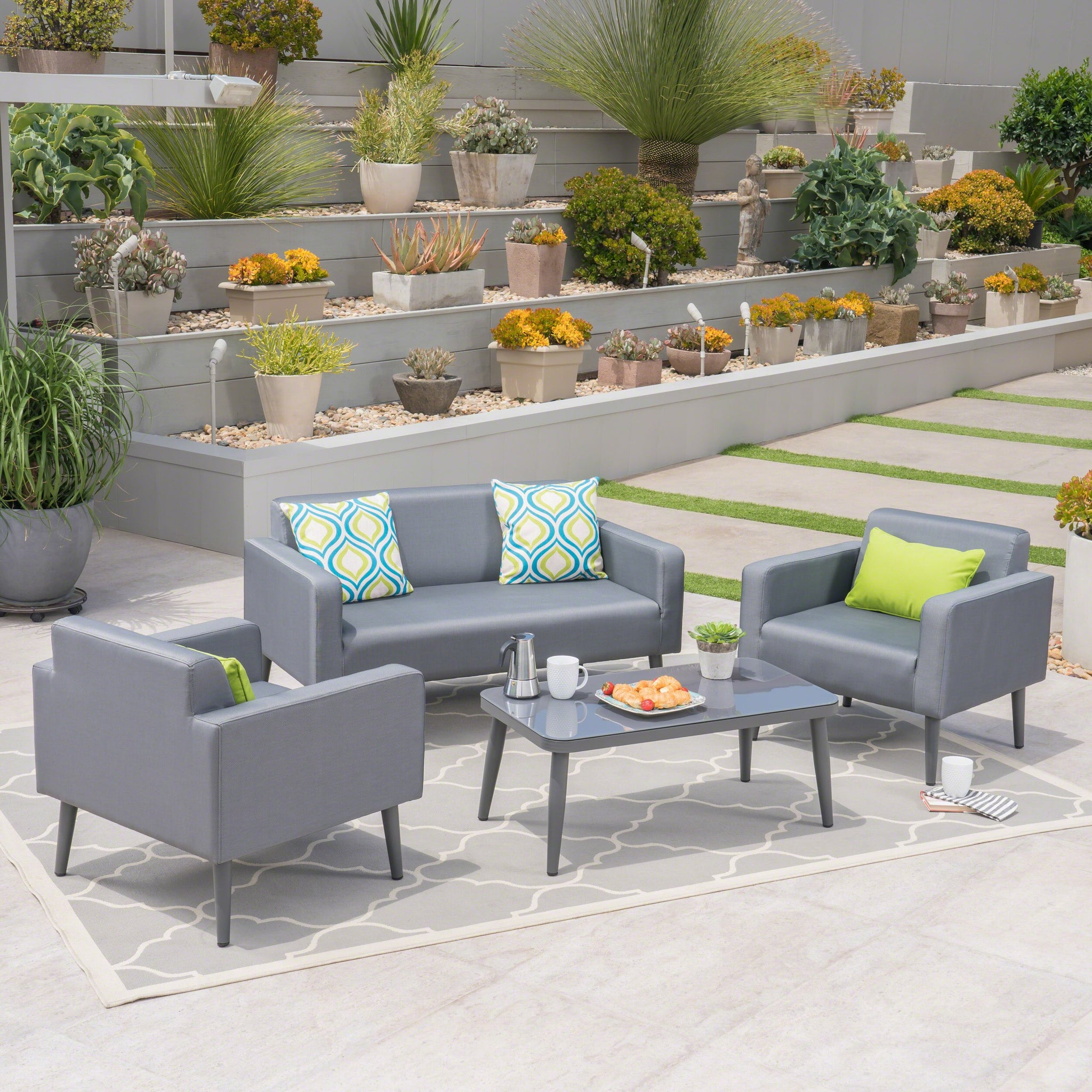 Tolovana Outdoor 4 Seater Mesh Upholstered Aluminum Chat Set