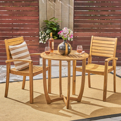 Waterloo Outdoor 2-Seater Acacia Wood Bistro Set