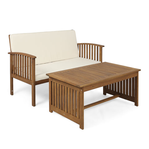 Carmody Outdoor Acacia Wood Loveseat And Coffee Table