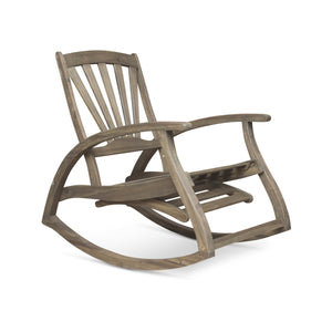 Summerland Outdoor Acacia Wood Rocking Chair With Footrest