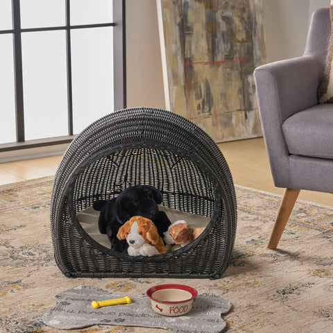 Ellis Indoor Wicker Igloo Pet Bed With Cushion