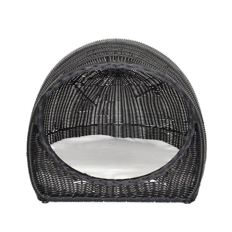 Robert Outdoor Wicker Igloo Pet Bed With Cushion