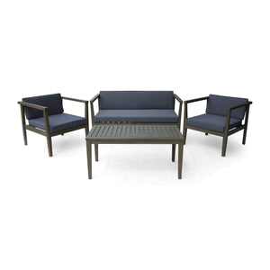 Neva Outdoor 4-Seater Acacia Wood Chat Set With Coffee Table