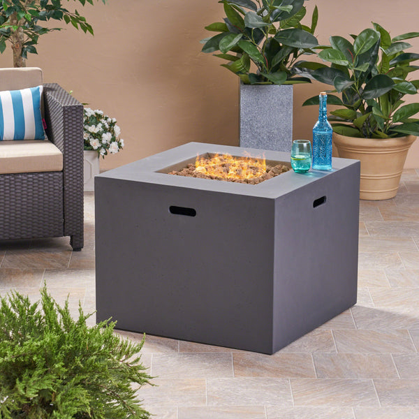 "Affrie Outdoor 31"" Square Concrete Gas Burning Fire Pit"