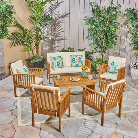 Carmody Outdoor 6-Seater Acacia Wood Chat Set