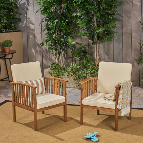 Carson Acacia Outdoor Acacia Wood Club Chairs