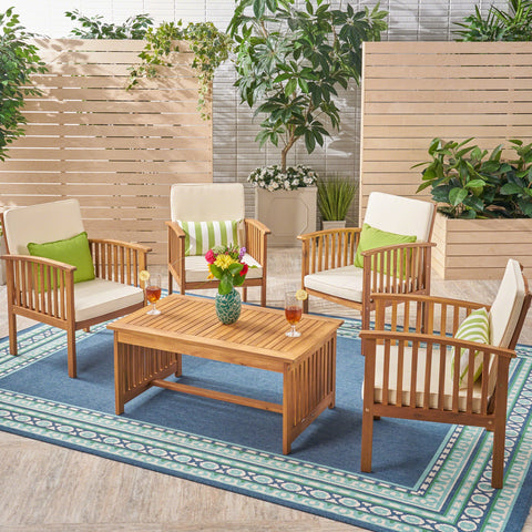 Carmody Outdoor 4-Seater Acacia Wood Club Chairs With Coffee Table