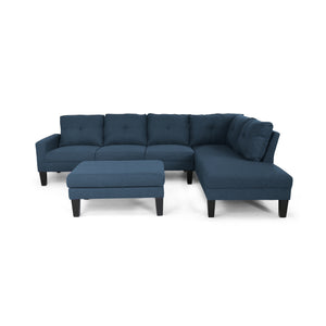 Felicity Modern Fabric Chaise Sectional With Ottoman