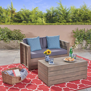 Ova Outdoor Acacia Wood Loveseat And Coffee Table Set