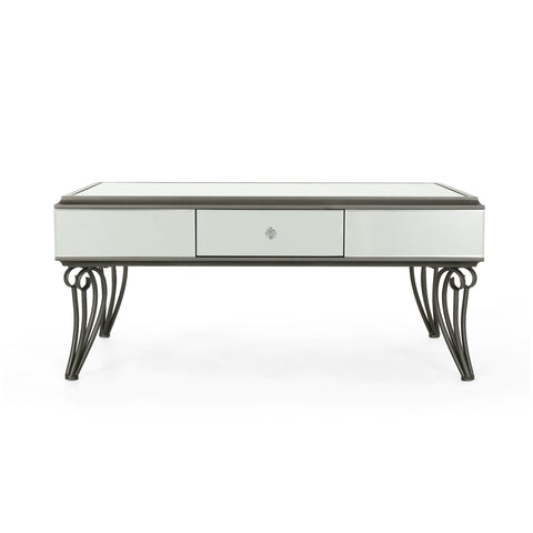 Bellows Modern Mirrored Coffee Table With Drawer
