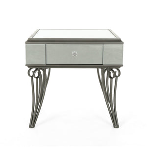 Heinrik Modern Mirrored Accent Table With Drawer