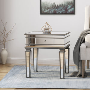 Gannon Modern Mirrored Accent Table With Drawer