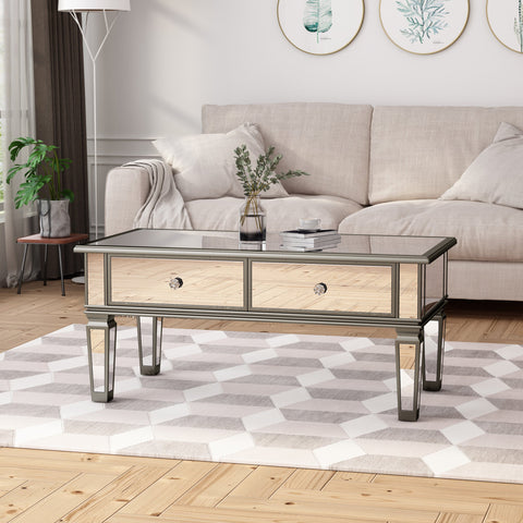 Heiser Modern Mirrored Coffee Table With Drawers