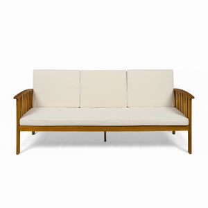 Carmody Outdoor Acacia Wood Sofa With Cushions