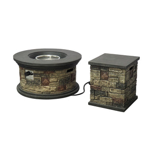 "Chequeset Outdoor 32"" Round Concrete Fire Pit"