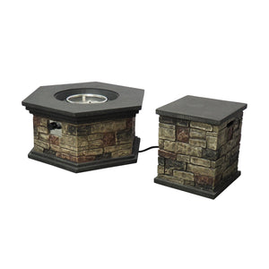 "Chequeset Outdoor 32"" Octagonal Concrete Fire Pit"