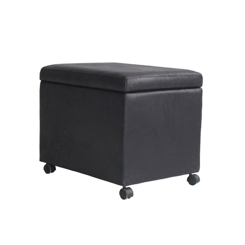 Cabana Traditional Microfiber Storage Ottoman For Home Or Office