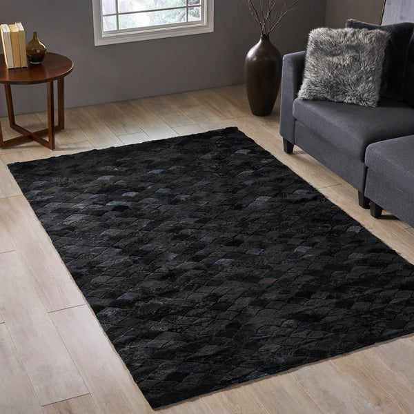 Fairlane Transitional Sheep Hide Area Rug | Color: Black