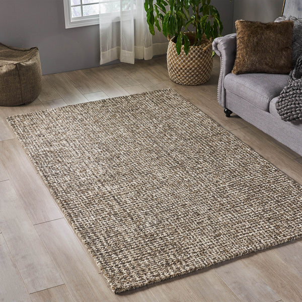 Hoonah Boho Wool And Viscose Area Rug | Color: Brown