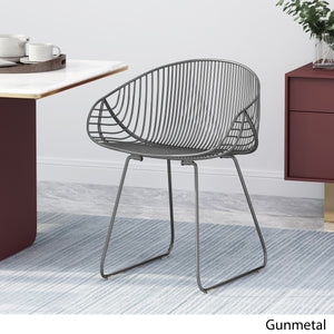 Nicolar Modern Glam Iron Dining Chair | Color: Gray, Finish: Gunmetal