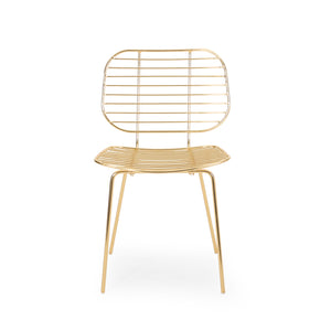 Pindell Modern Glam Iron Dining Chair | Color: Yellow, Finish: Gold