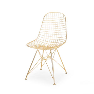 Merrimac Modern Glam Iron Dining Chair | Color: Yellow, Finish: Gold