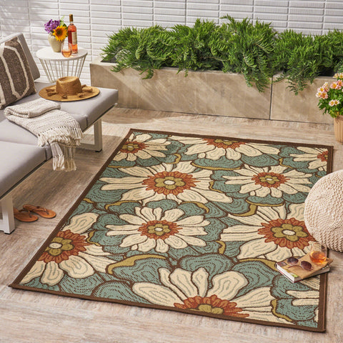 Megann Indoor/ Outdoor Floral 5 X 8 Area Rug