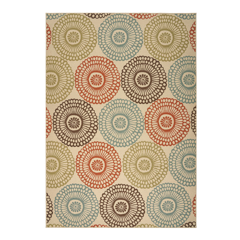 Manila Outdoor Floral Area Rug | Color: Brown, Size: 8' x 11'