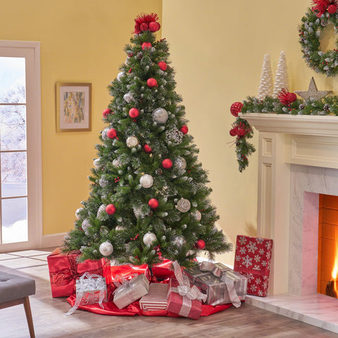 7.5-Foot Mixed Spruce Pre-Lit Or Unlit Hinged Artificial Christmas Tree With Glitter Branches