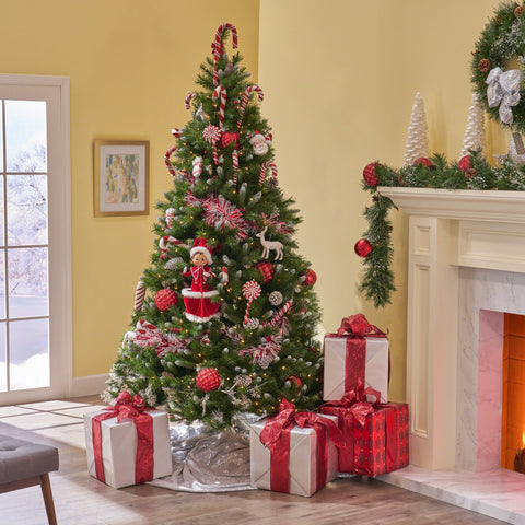 7-Foot Mixed Spruce Pre-Lit Or Unlit Hinged Artificial Christmas Tree With Frosted Branches