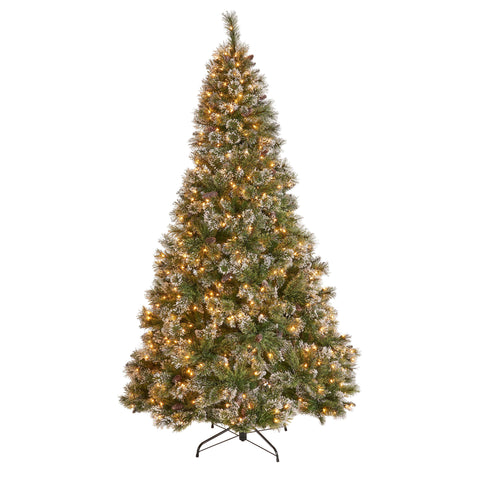 4.5-Foot Mixed Spruce Pre-Lit Or Unlit Hinged Artificial Christmas Tree With Snow And Glitter Branches And Frosted Pinecones