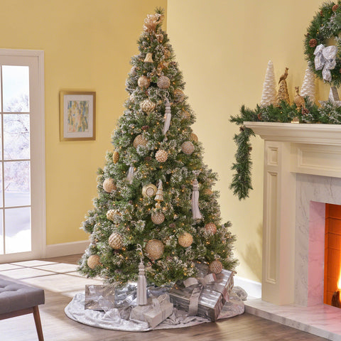 7-Foot Mixed Spruce Pre-Lit Or Unlit Hinged Artificial Christmas Tree With Snow And Glitter Branches With Frosted Pinecones