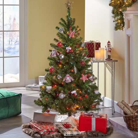 4.5-Foot Dunhill Fir Pre-Lit Or Unlit Hinged Artifical Christmas Tree