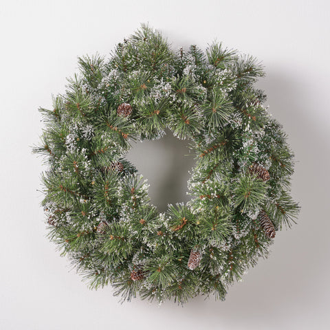 Broadstone Christmas Wreath 24 Pre Lit Mixed Spruce Snowy And Glitter Branches With Frosted Pinecones Battery Operated Includes Timer Warm Led Christmas S