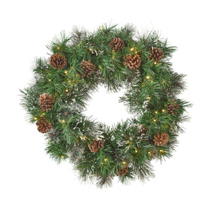 Keoni Christmas Wreath 24 Pre Lit Cashmere Pine And Mixed Spruce Snowy Branches With Pinecones Battery Operated Includes Timer Warm Led S