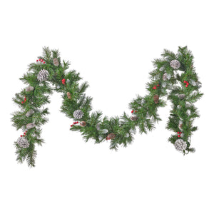 Pre Lit Outdoor Christmas Trees Battery Operated.Sergey Christmas Garland 9 Pre Lit Mixed Spruce Frosted Branches With Berries And Pinecones Battery Operated Includes Timer Warm Led Christmas S