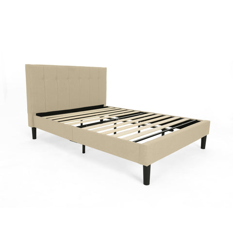 Fully-Upholstered Queen-Size Platform Bed Frame