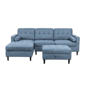Flanner Upholstered Chaise Sectional Sofa Set With Storage Ottoman