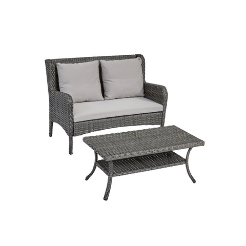 Achton Outdoor Wicker Loveseat And Coffee Table