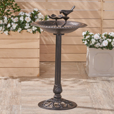 Ezra Outdoor Aluminum And Iron Bird Bath