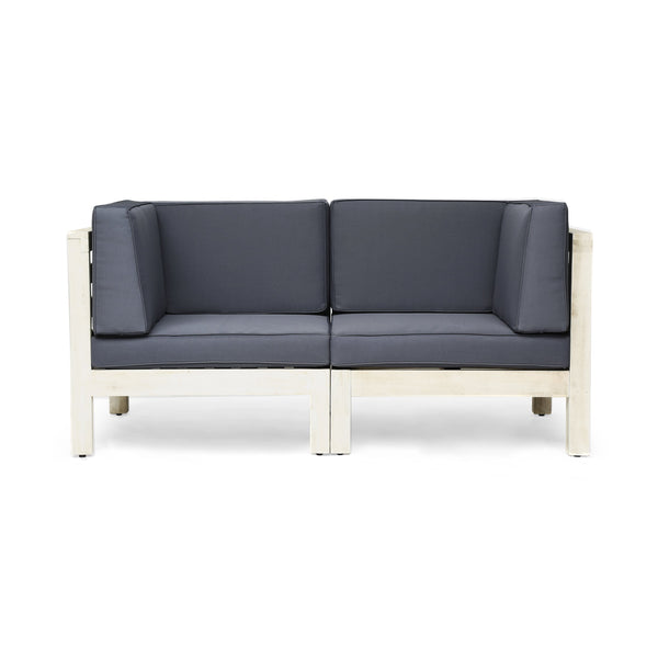 Brannt Outdoor Modular Acacia Wood Loveseat With Cushions