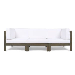 Brannt Outdoor Modular Acacia Wood Sofa With Cushions