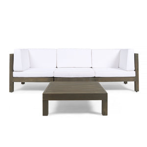 Brannt Outdoor Modular Acacia Wood Sofa And Coffee Table Set With Cushions