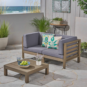Dale Outdoor Modular Acacia Wood Loveseat And Table Set With Cushions