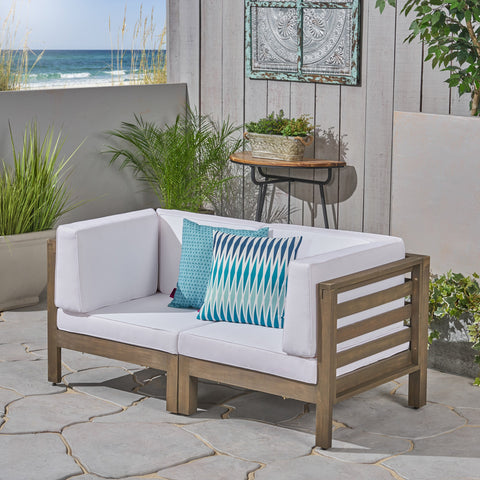 Dale Outdoor Modular Acacia Wood Loveseat With Cushions