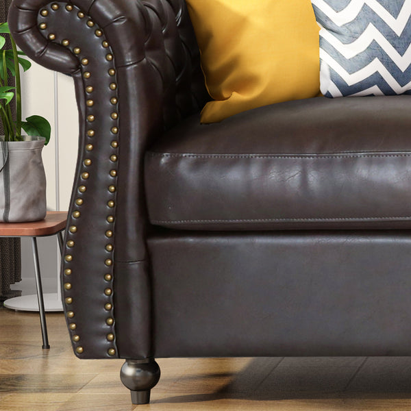 Solano Chesterfield Tufted Sofa With Scroll Arms