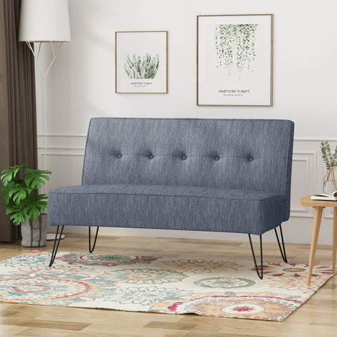 Bentham Modern Fabric Settee With Hair Pin Legs