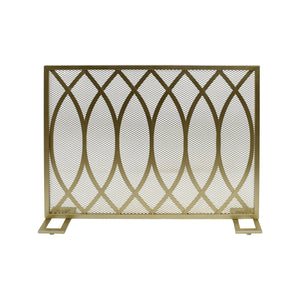 Buckthorn Modern Single Panel Iron Firescreen | Color: Yellow, Finish: Gold