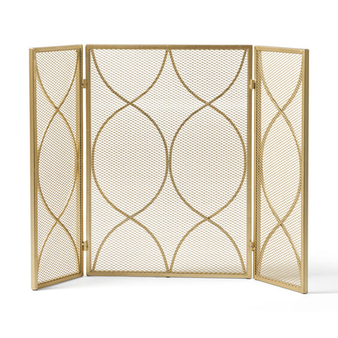 Pines Modern Three Panel Iron Firescreen | Color: Yellow, Finish: Gold
